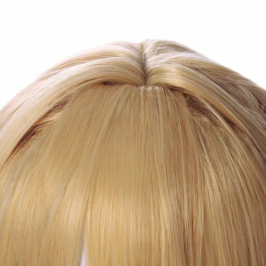 Photo of Violet Evergarden Cosplay Wig Golden Blonde Hair Bun Styled Anime Hair   Ribbon …