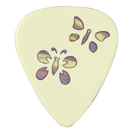 Two purple yellow butterflies guitar picks guitar pick #guitarpicks #butterflies #music #abstract