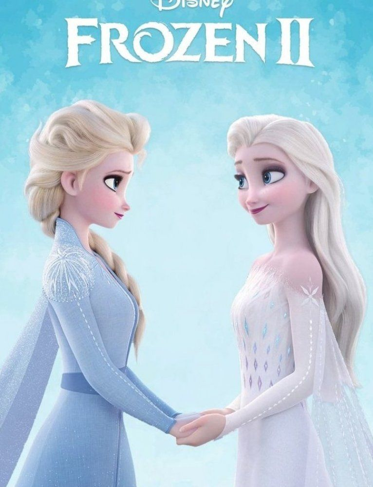 Frozen 2 Picture Of Elsa In White Dress Holding Hands With Elsa From The Beggining Of The Movie Disney Princess Elsa Frozen Disney Movie Elsa Pictures