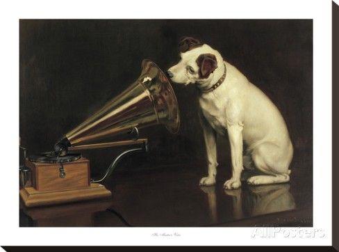 His Master's Voice Reproducción en lienzo de la lámina
