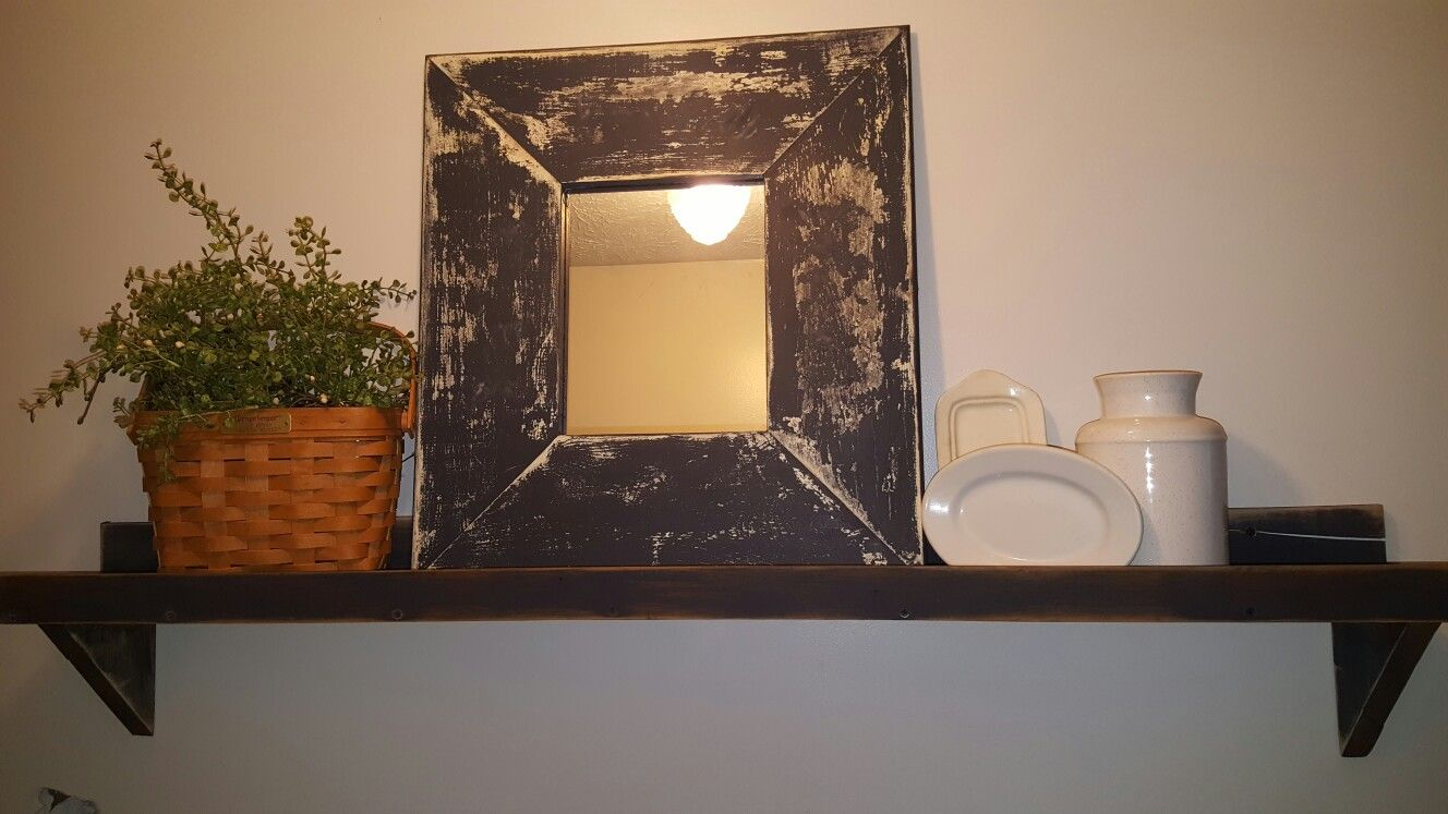 Farmhouse Shelf with a repurposed Mirror Mirror