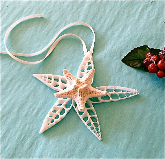 Beach Ornament - Seashell Christmas Ornament with Shells and