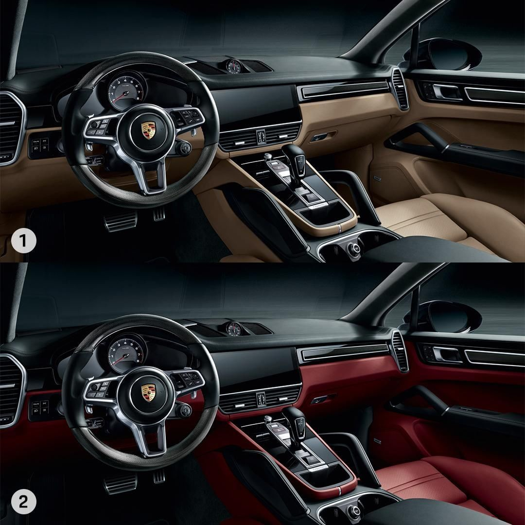 Black And Mojave Beige 1 Or Black And Bordeaux 2 Which Distinctive Interior Configuration Would You Choose For The Porsche Porsche Cayenne Porsche Mojave