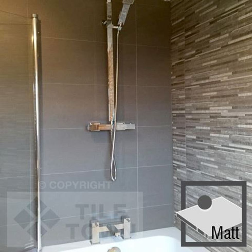 Lounge Dark Grey Matt Bathroom Wall Tiles by RAK (tile factory ...