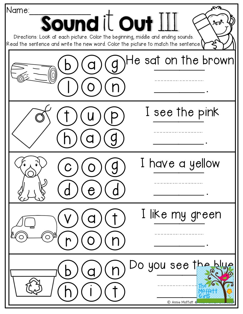 worksheet Middle Sounds Worksheets i can make cvce sentences tons of great printables kinderland sound it out beginning middle and ending sounds write read the sentence back to school printables
