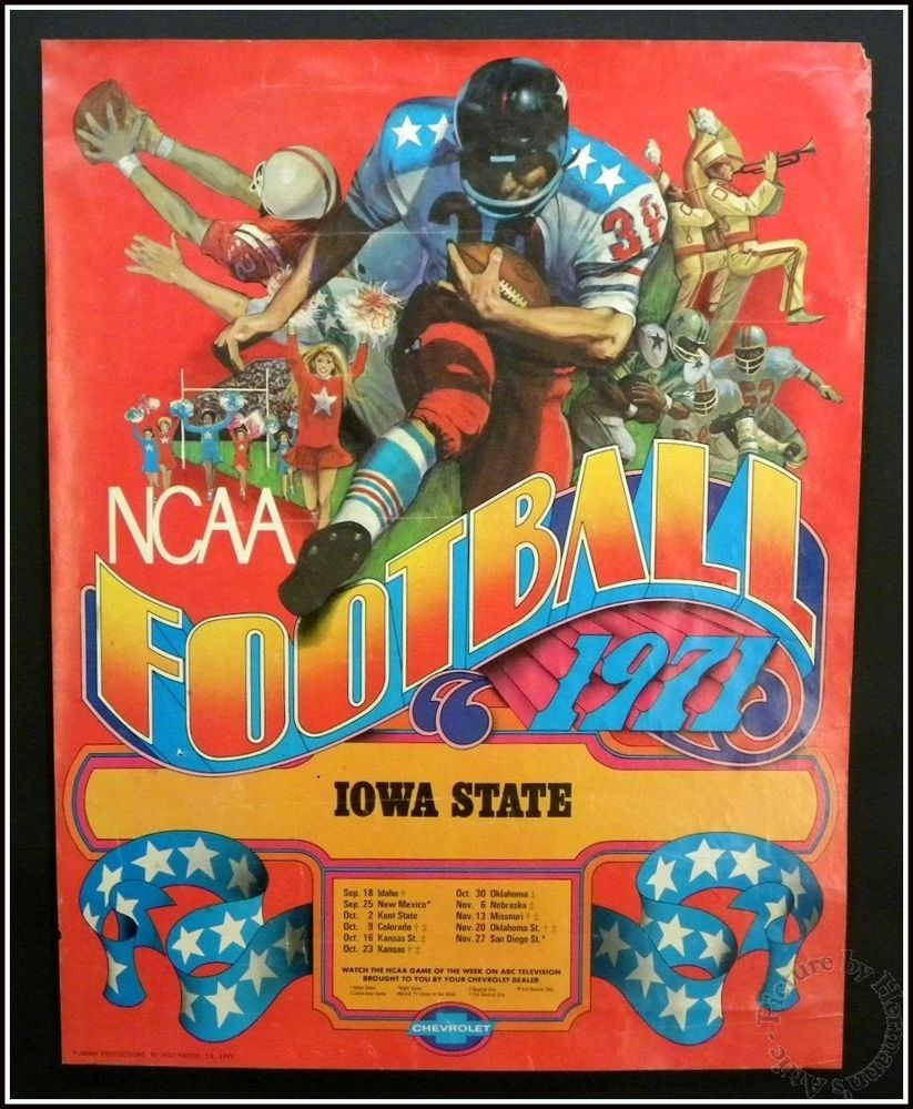 NCAA 1971 Iowa State Cyclones Football Schedule Poster by