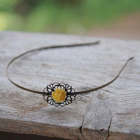 Yellow Rose Filigree Headband  Antique Brass by RusticGem on Etsy, $24.00