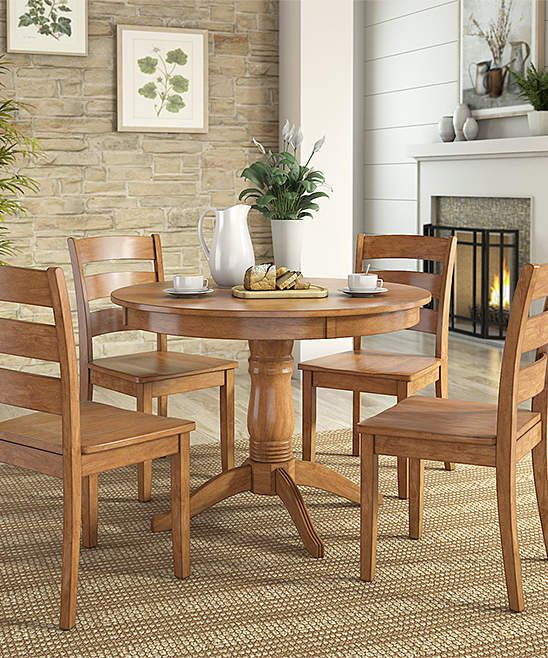 Oak Finish Ladder Back Chair Round Five Piece Dining Table Set