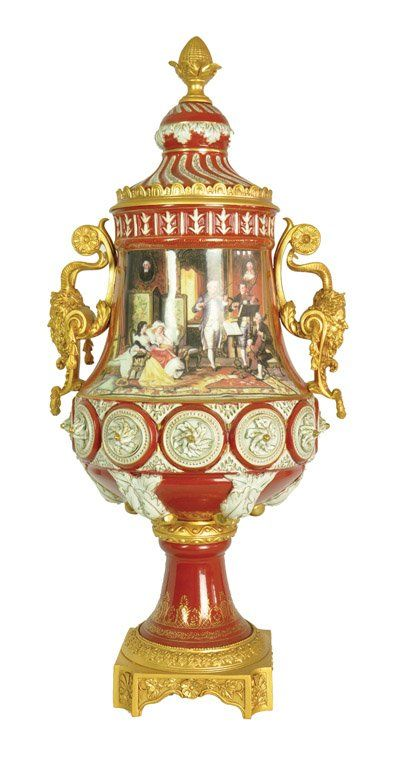 A Sevres pattern porcelain red ground and gilt metal mo : Lot 367