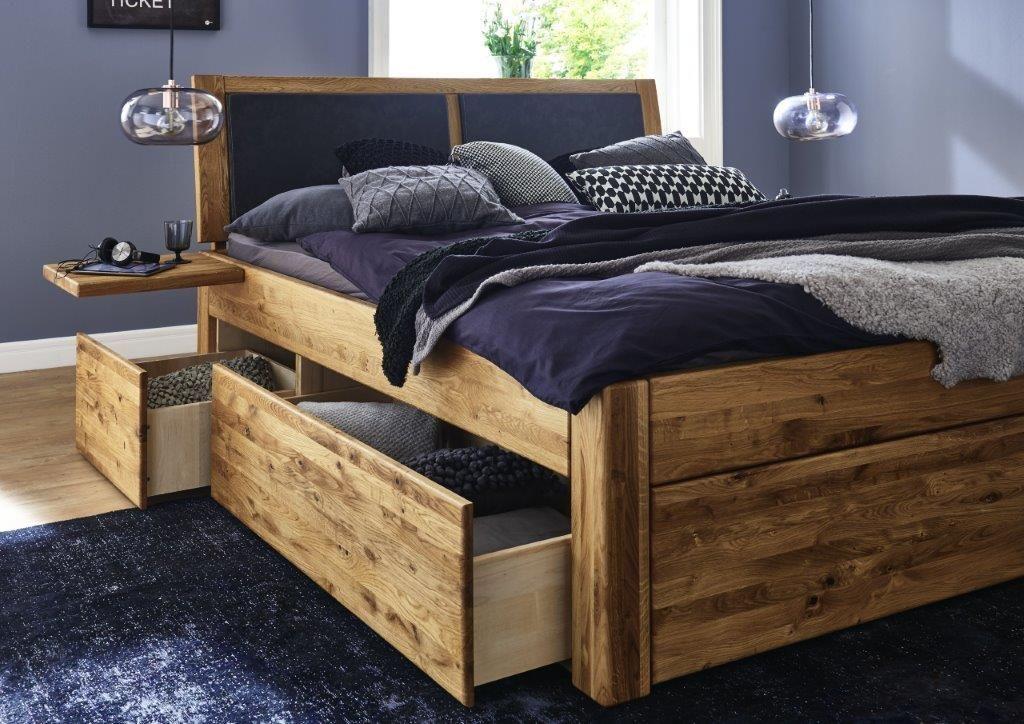 Bett Massiv Eiche Mit Schubladen 140x200 Bett Mit Schubladen Bett Eiche Bett Massivholz