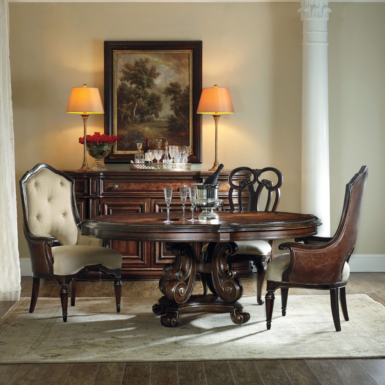 Hooker Furniture Grand Palais 5 piece Round Dining Table Set with