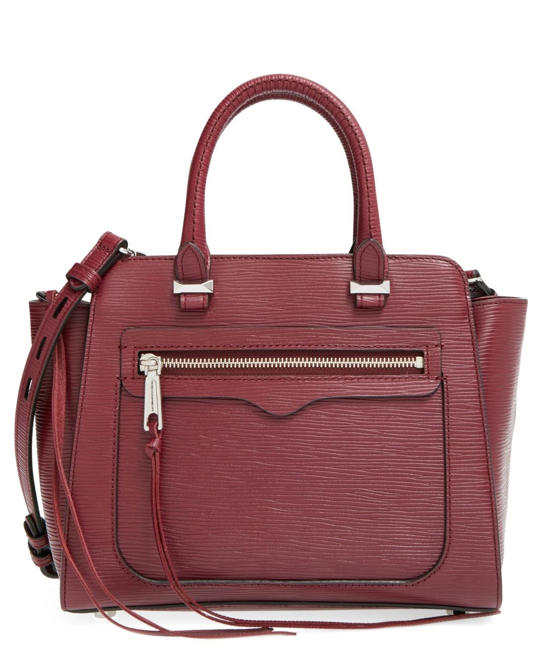 The structured silhouette of this burgundy Rebecca Minkoff tote makes it a classic addition to the fall wardrobe.
