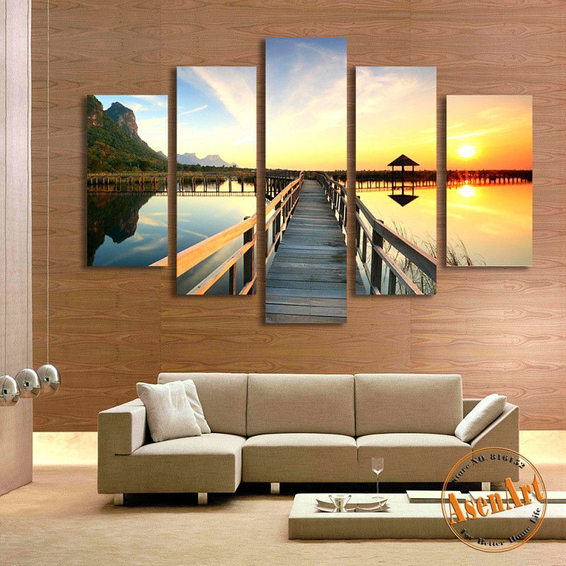 5 Panel Walkway Sea Sunset Landscape Painting Picture for Living