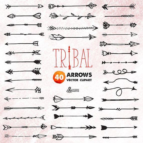 Tribal Arrows Clipart: 40 vector digital files. Hand drawn, doodle ...