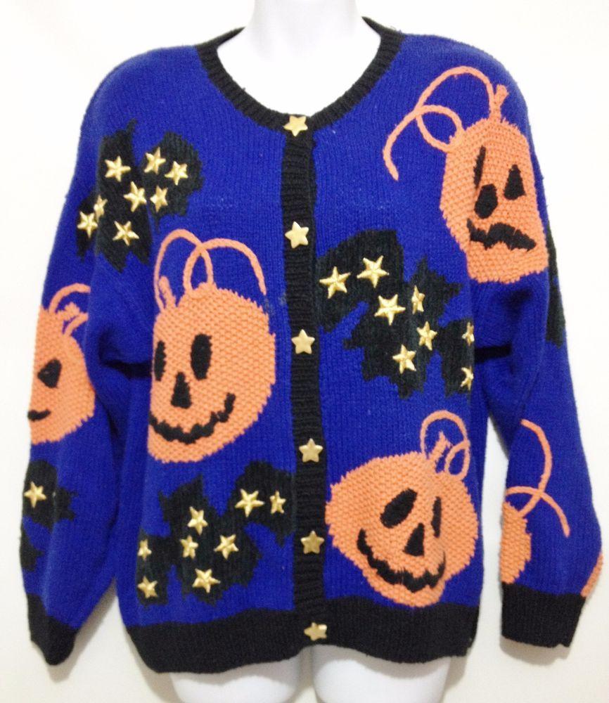 Marisa Christina Ugly Halloween Sweater Blue Pumpkin Bats Gold ...