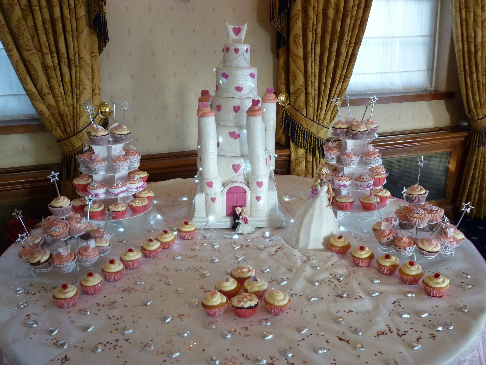 6 Tier Fairy Castle Wedding Cake with Cupcakes & Barbie Bride Cake
