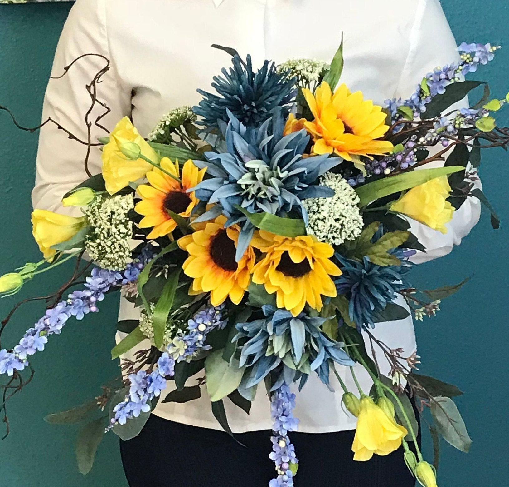 Extra Large Indigo & Sunflower Silk Cascading Bridal Bouquet-Blue Silk Dahlia Bouquet-Sunflower Bridal Bouquet-Unique Blue Sunflower Bouquet #silkbridalbouquet