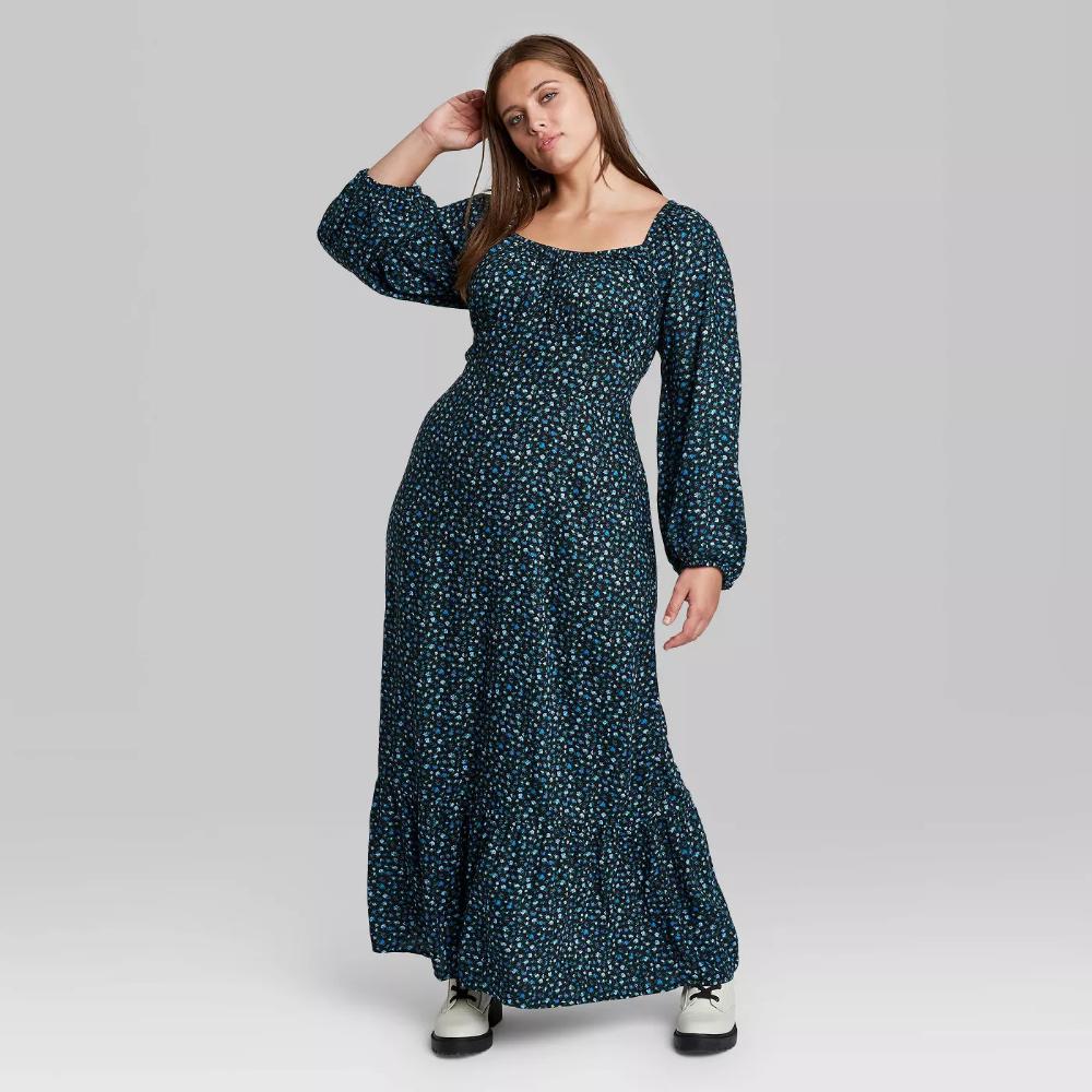 Women S Floral Print Long Sleeve Tiered Prairie Dress Wild Fable In 2020 Dresses Prairie Dress Long Sleeve Maxi Dress [ 1000 x 1000 Pixel ]