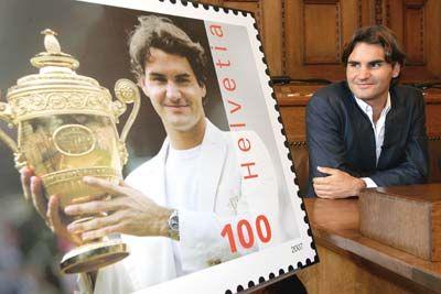 Roger Federer With His Stamp Roger Federer Greatest