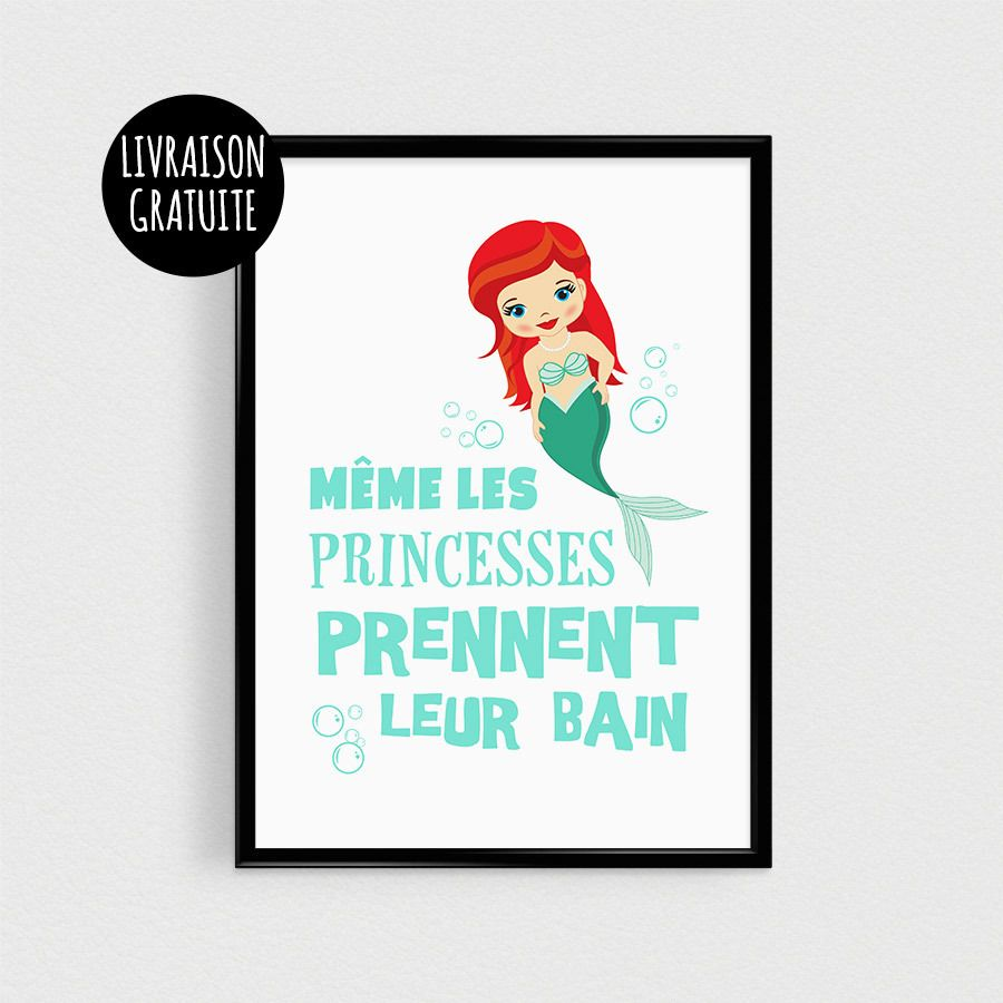 Mermaid Princess Kids Princess Quote Scandinavian Poster
