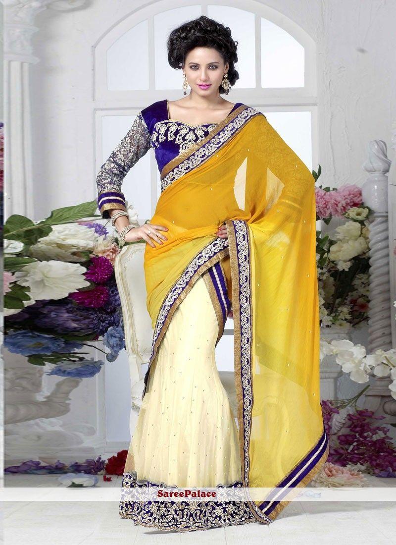 adeee2ee77 Beautiful Yellow And Cream Net Chiffon Lehenga Saree | Designer ...
