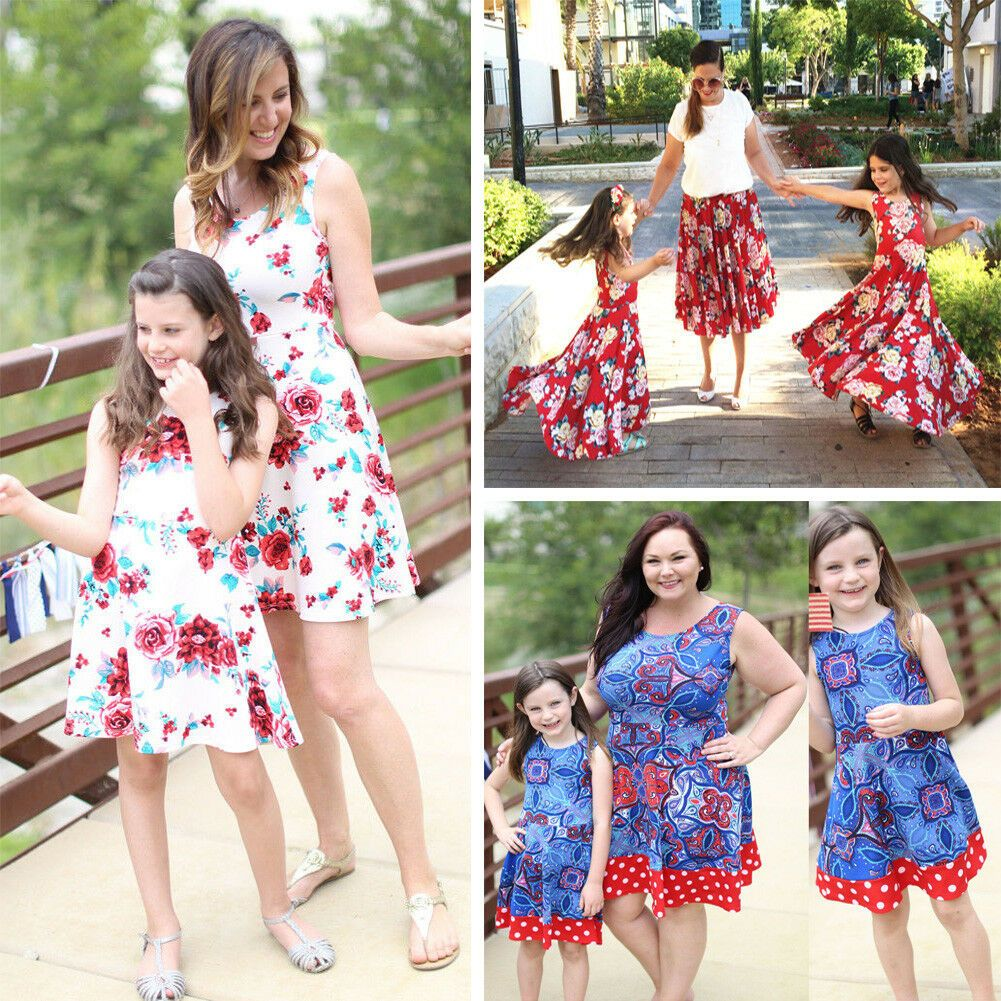 Mother Daughter Girl Boho Clothes Parent-child dress Family Matching Outfits