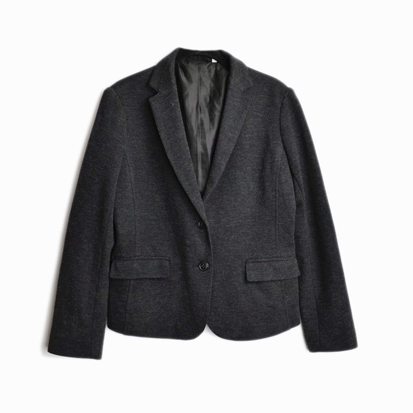 MUJI Heathered Charcoal Gray Wool Blend Blazer Jacket - EUC - women s  medium  Muji  Blazer 5c66e7eb368a1