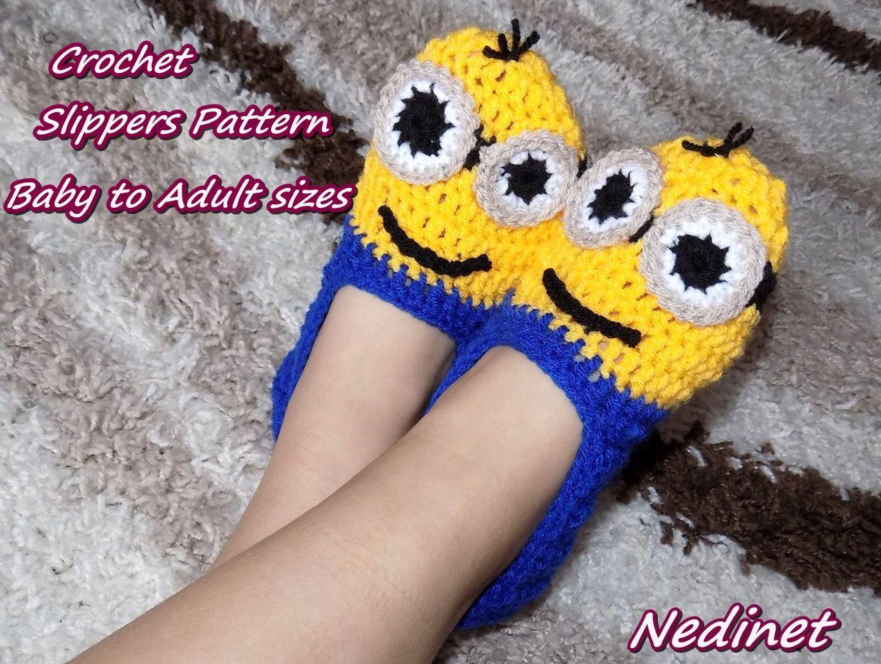 Crochet PATTERN Minion slippers pattern, crochet minion pattern ...