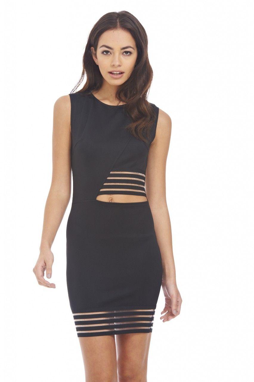 AX Paris Womens Laser Cut Out Side Deatiled Bodycon Dress