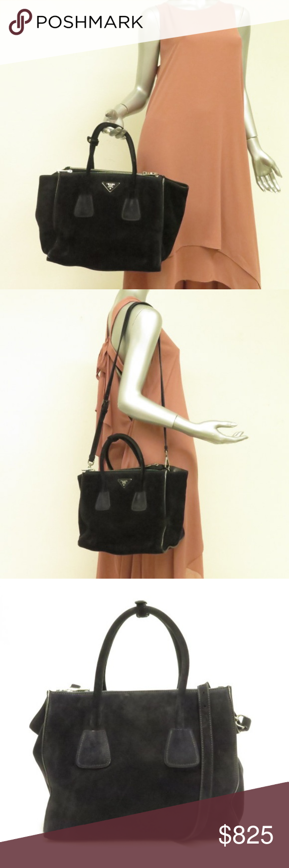 bf4ddb34a4d4 Prada Twin Pocket Tote Bag Black Suede ITEM: Prada Twin Pocket Tote Bag  Black Suede
