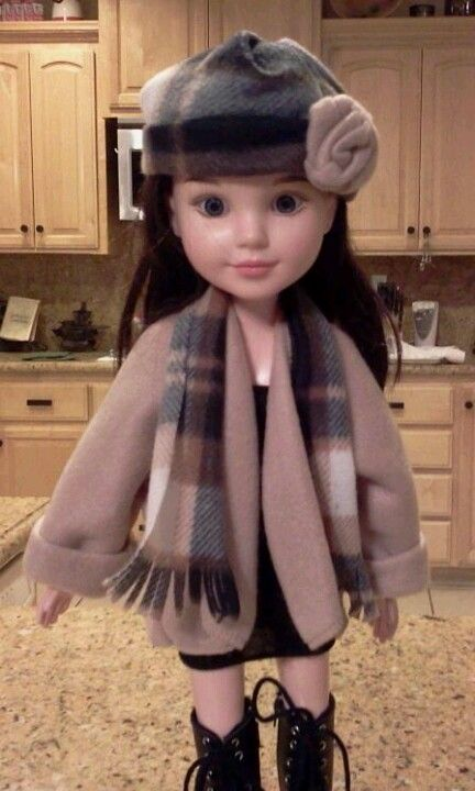 BFC ink doll blanket coat scarf and hat. Made from two 99¢ store scarfs.