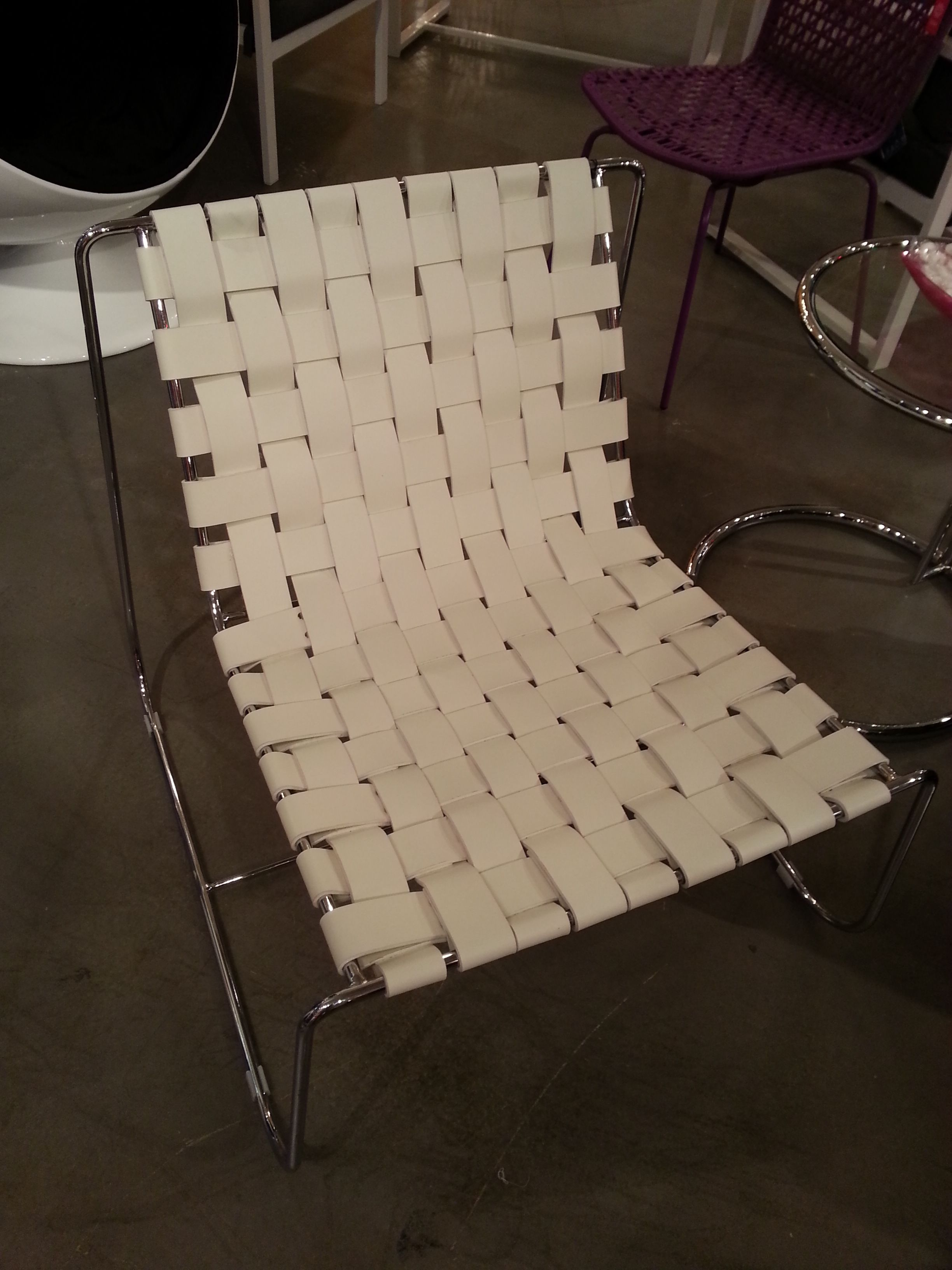 White woven leather side table for family room