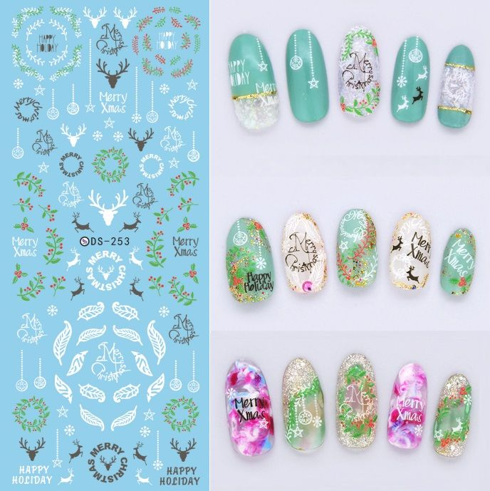 Make Up Products Water Transfer Nails Art Sticker White Deer Peach ...