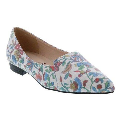 ce9facb04b83e Women's Bellini Flora Flower Pointed Toe Flat - Blue Faux Leather ...