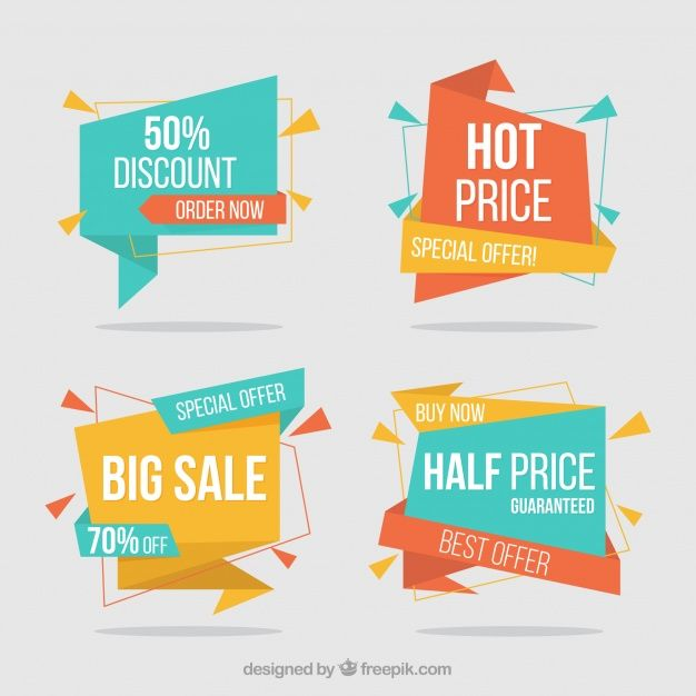 Pack of discount origami banners free vector banner sale abstract
