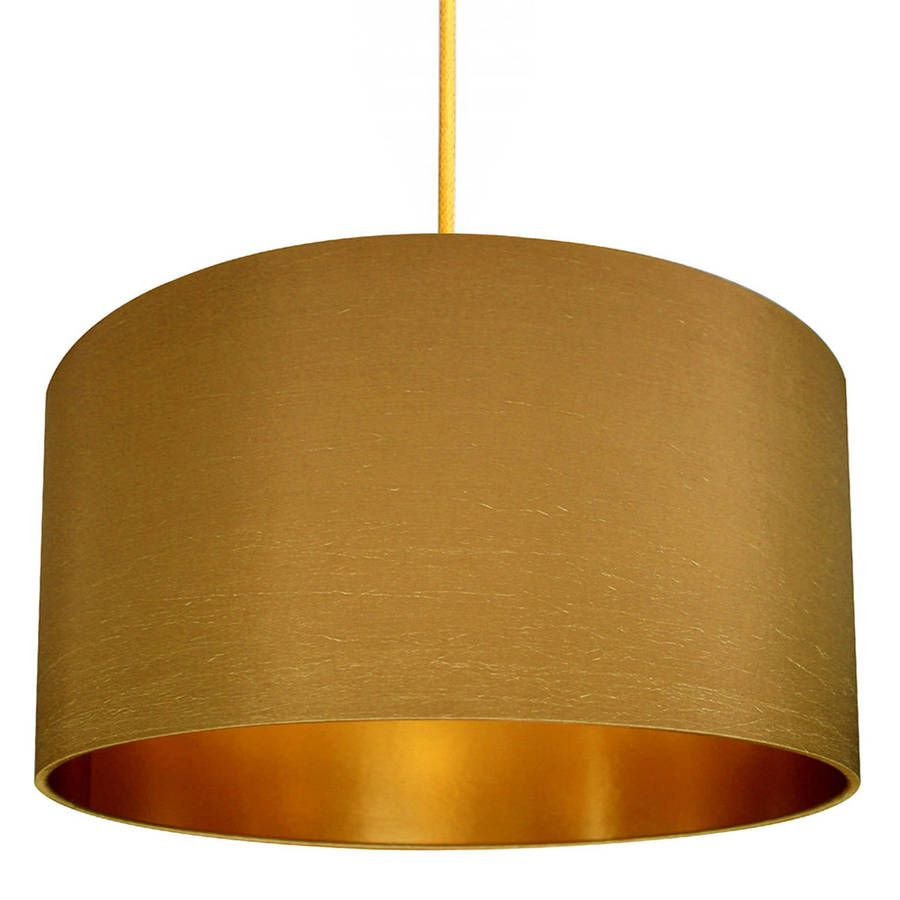Gold Lined Lampshade In Antique Gold Fabric Lampshade Pendant Light Fitting Gold Lamp