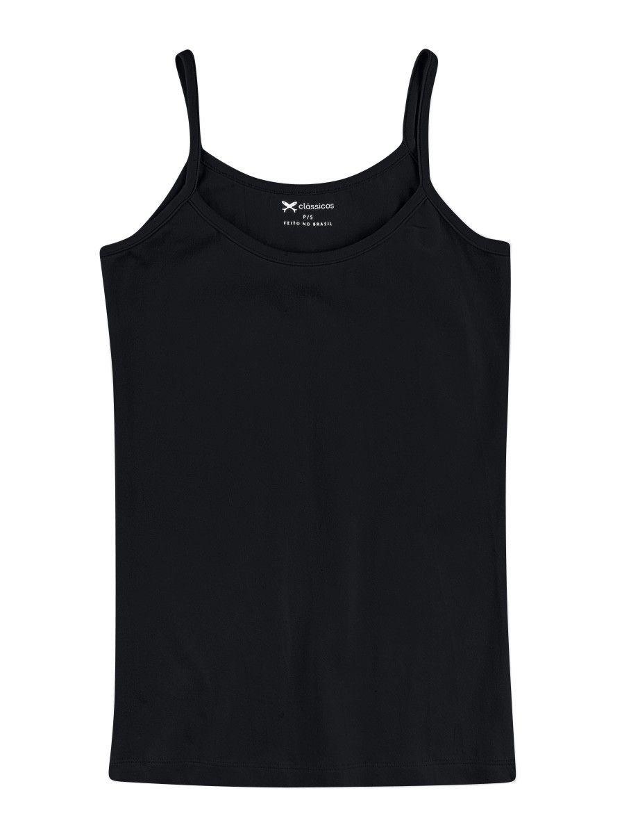 a83e61146 Regata feminina básica com alças finas na cor preto em tamanho XG. Regata  feminina básica