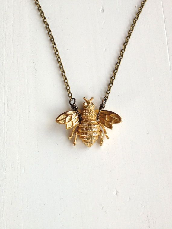 Vintage Gold Bee Brooch Necklace with Antiqued Brass Chain Bees