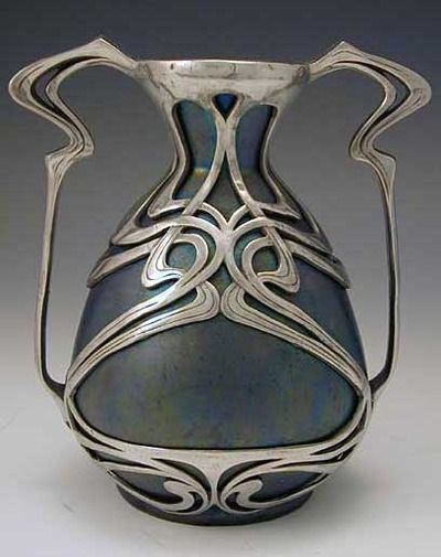 Zsolnay Ceramic art nouveau vase with polished pewter mount, Hungary, c. 1900 http://www.titusomega.com/