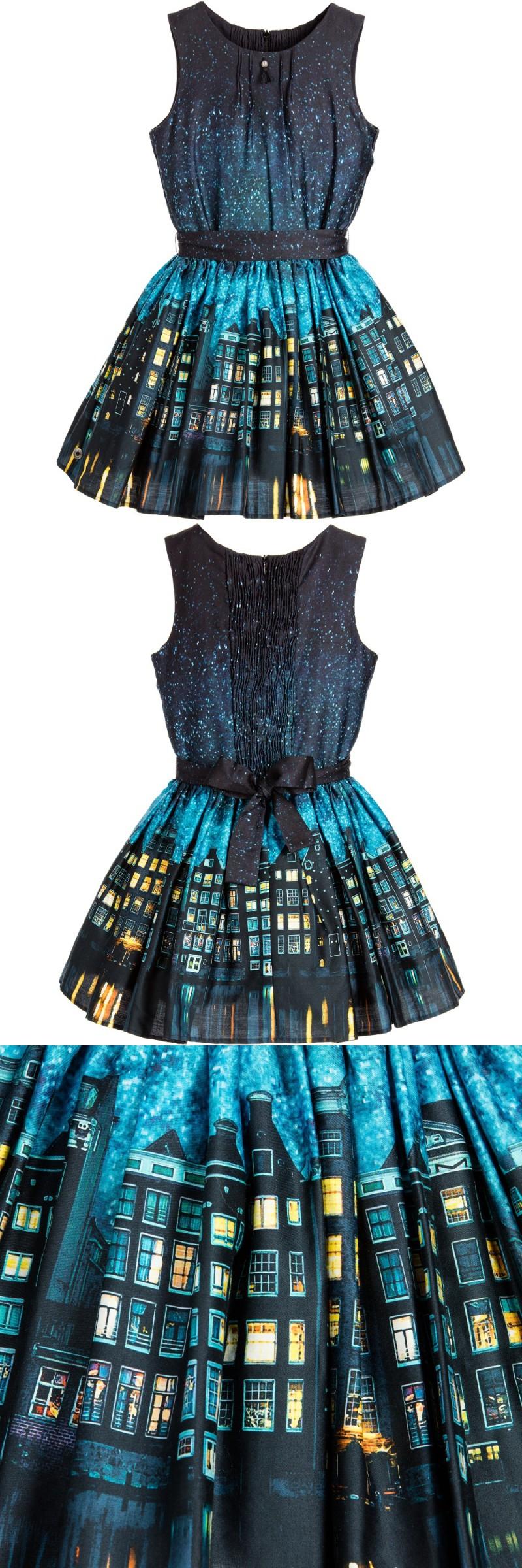 Girls Dress Sleeveless Blue & Yellow Cotton Houses Print Kids Summer ...