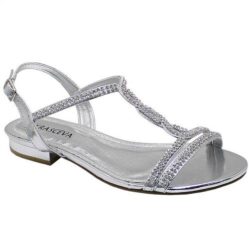 LADIES LOW HEEL WOMENS DIAMANTE SLINGBACK FLAT EVENING