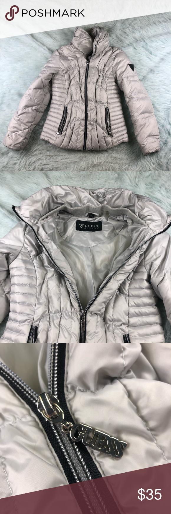Guess Down Puffer Jacket Coat Women S Small Silver Coats For Women Coats Jackets Women Jackets [ 1740 x 580 Pixel ]