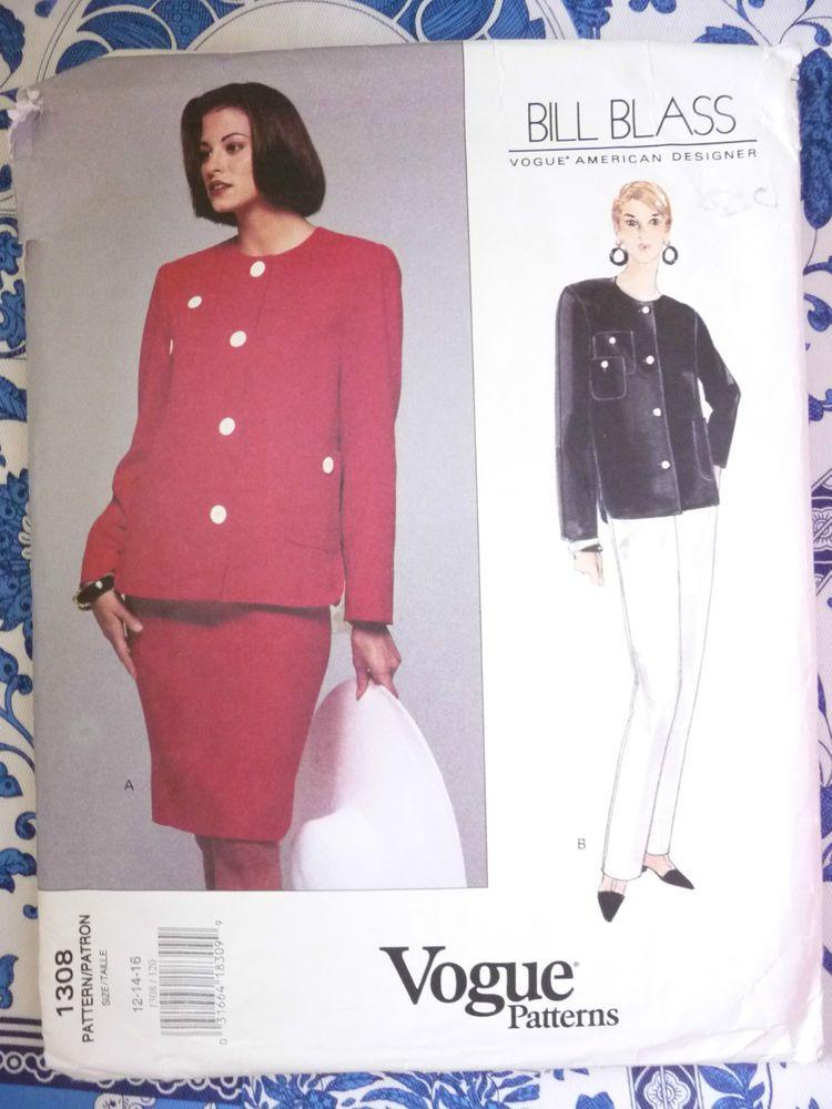 Vogue Pattern  1308  -   BILL BLASS   -      Size:  12-14-16 -   Uncut