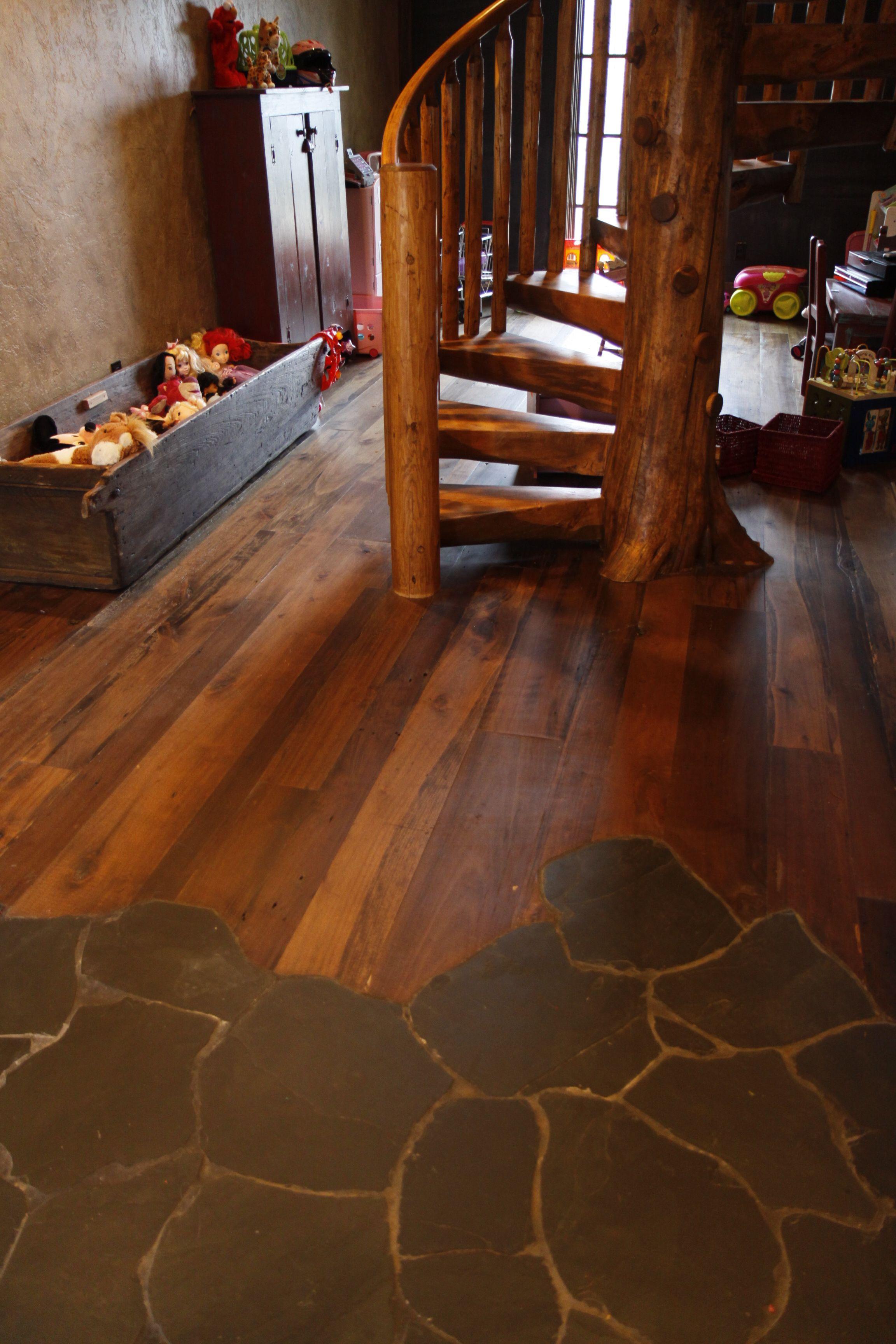 Reclaimed Poplar Flooring and Slate  Like the idea of how