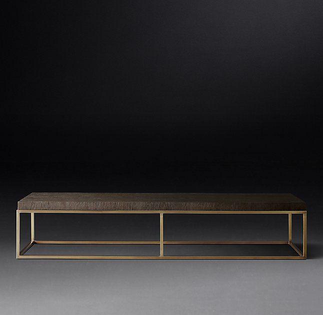 Nicholas Oak Large Rectangular Coffee Table 60x24x14 Brown