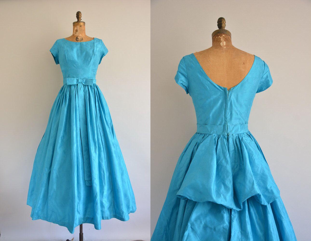 S prom dress s teal bustle prom dress vintage s dress