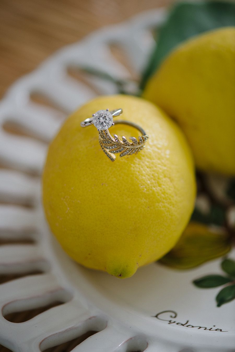 Diamond engagement ring and gold leaf band // Wedding jewellery