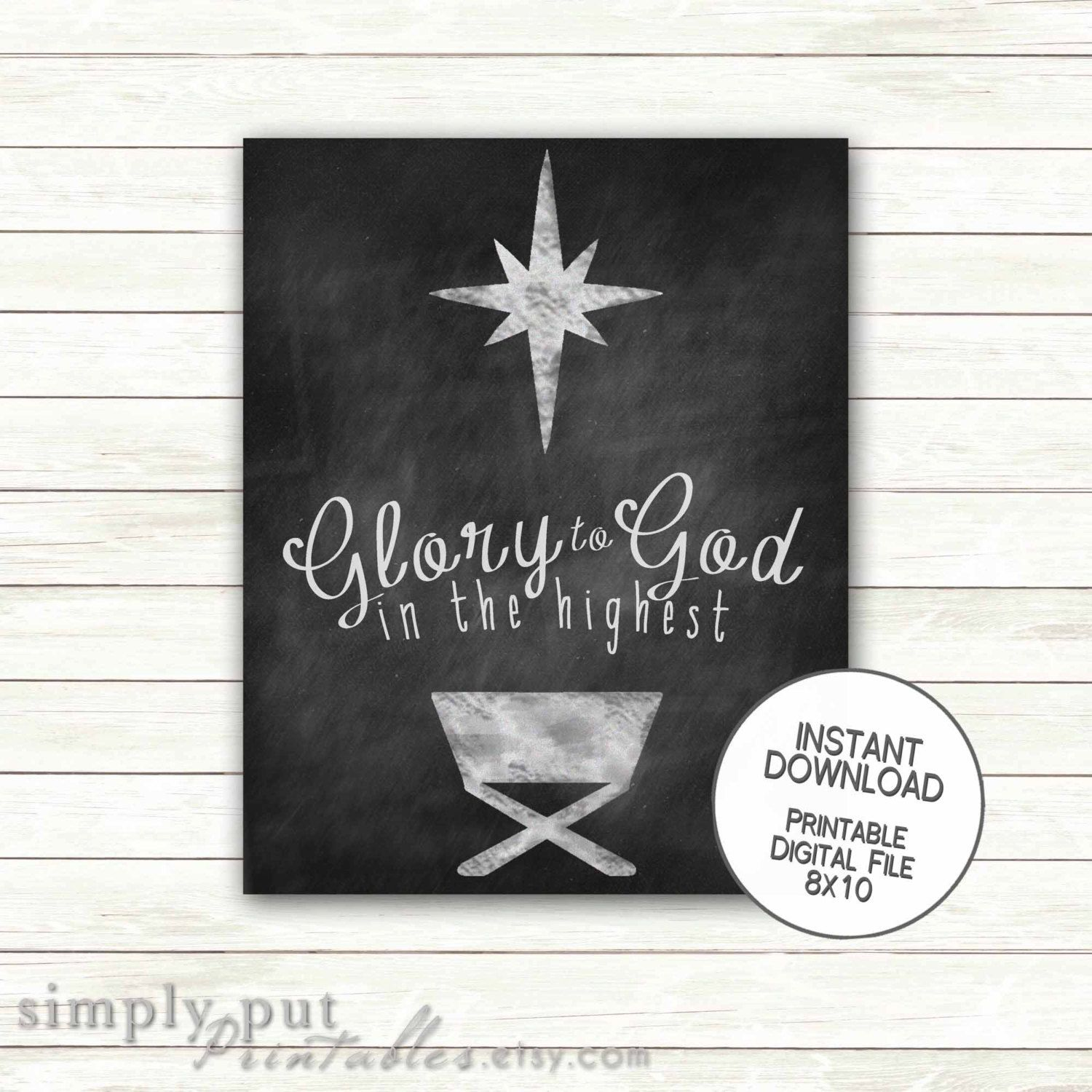Christmas Chalkboard Glory to God in the Highest Wall Art Printable |  Religious Christmas Nativity Sign | Scripture 8x10 INSTANT DOWNLOAD by ...
