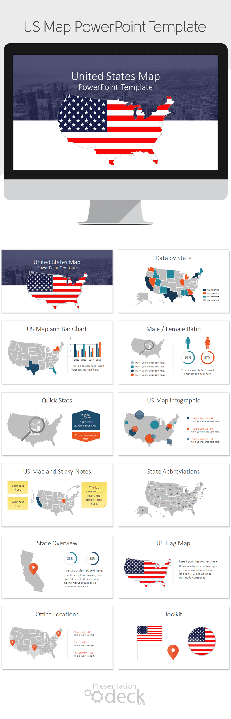US Map PowerPoint Template Products Us Map And United States Map - Map of united states for powerpoint presentation