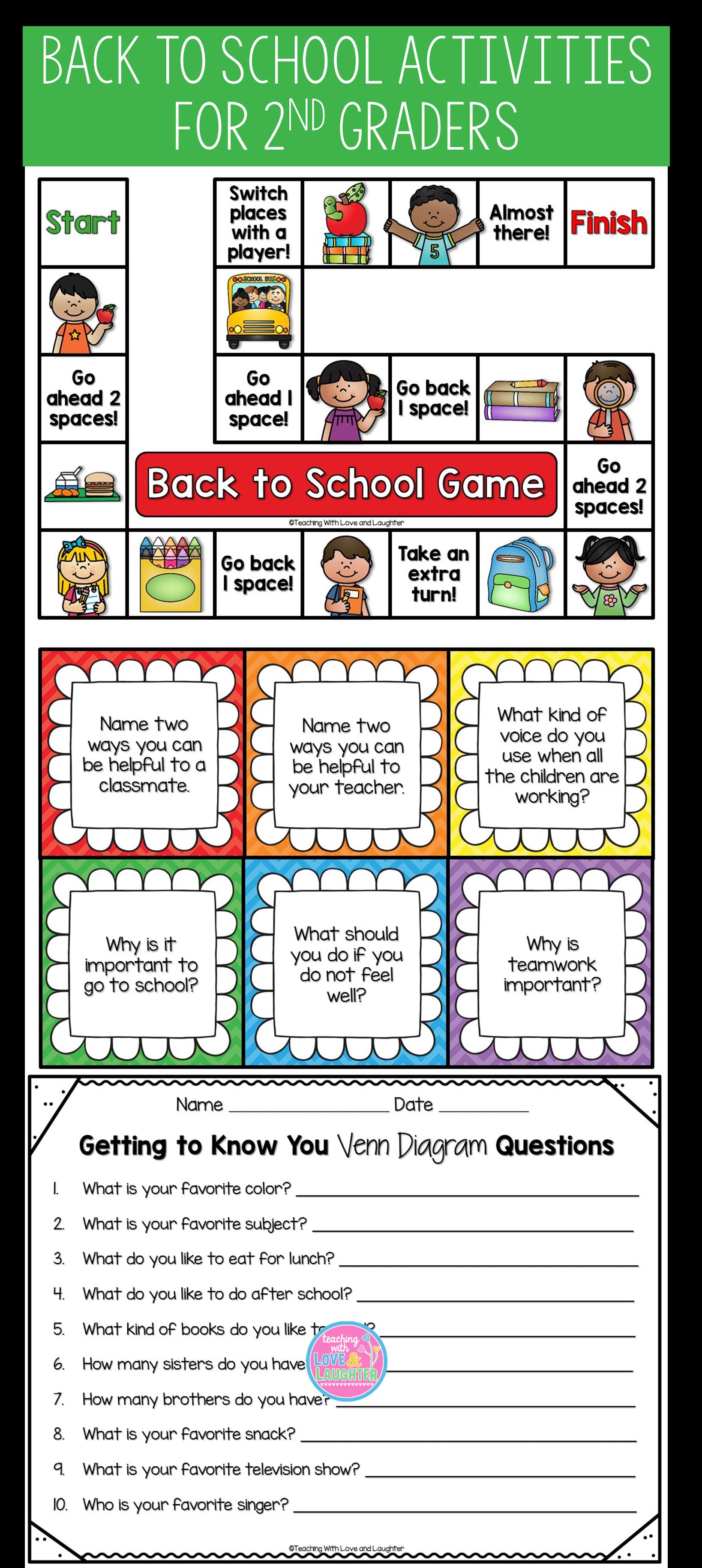 Back To School Activities For Second Graders